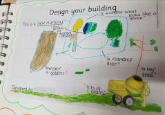 A child's design of the nursery: this is a new nursery. this window is all different colours. The door is golden. lots of grass. a raindrop door. a window who looks like a lemon. a big tree.