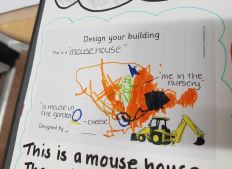A child's design of the nursery: this is a mouse house, me in the nursery, a mouse in the garden, cheese