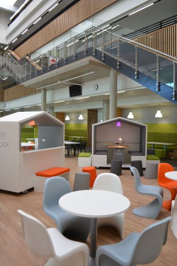 The Nook Pods in the social space at Boroughmuir High School