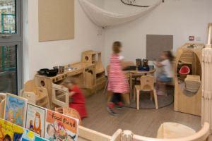 three children play in the home corner
