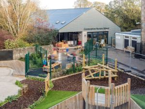 the exterior of the building, the learning extends into the outdoor space with sand and water play and toys