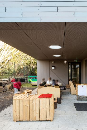 Children using the outdoor space at Corstorphine Primary School Nursery