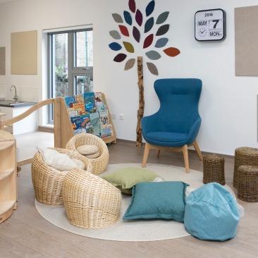 A comfy reading corner at Corstorphine Primary School Nursery