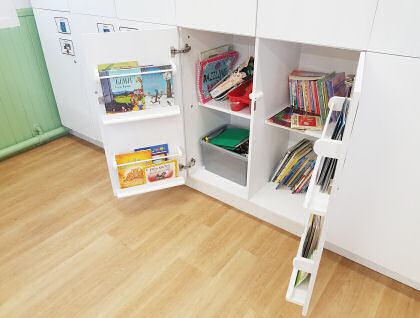 book storage inside cupboards