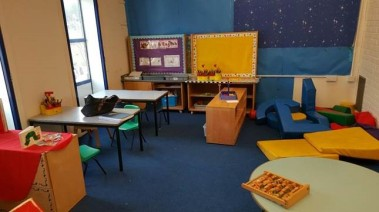 bold primary colours were used in the classroom