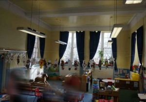 Work being displayed on washing lines in the classroom