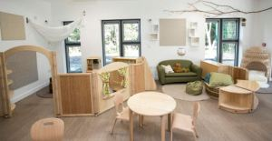 natural wooden furniture, decorative branch on the wall, dividers break up the space