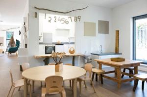 The dining area with a kitchen hatch