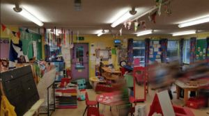 A variety of bright primary colours make the classroom look overwhelming
