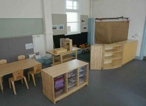 The storage units and furniture are wood