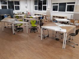 Trialling triangular desks that can create different shaped surface space