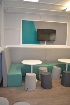 stools and comfy booth seating