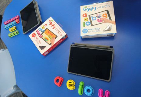 tiggly words and maths accessories are used with the ipad