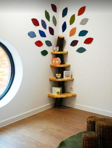 A bookshelf designed like a tree