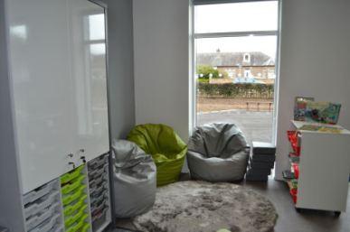 three comfortable bean bags surrounding a furry rug make a cozy collaborative area