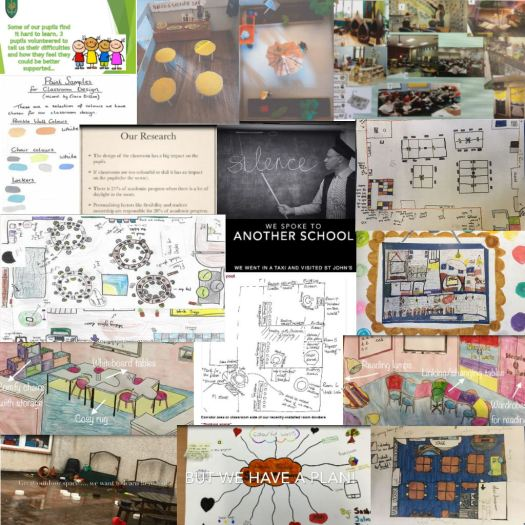 images from the 9 schools who were not finalists in the competition, there are palettes, models, moodboards, research pages, plans for classrooms, photos and diagrams