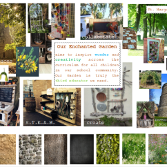 A moodboard showing photographs of nature, different textures, kitchen, steam and music tools