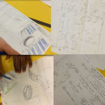 Entry from St Cuthbert's Primary School, learners drawing designs for their library