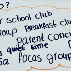 Who? after school club, eco group, breakfast club, music classes, parent council, assembly practice, quiet time, reading group, PSA focus groups