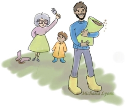 an illustration of a man carrying a bag of compost followed by an elderly lady and young boy