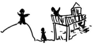 an illustration of children playing on a hill and fort