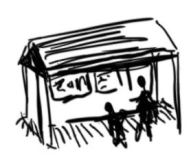illustration of people in a shelter