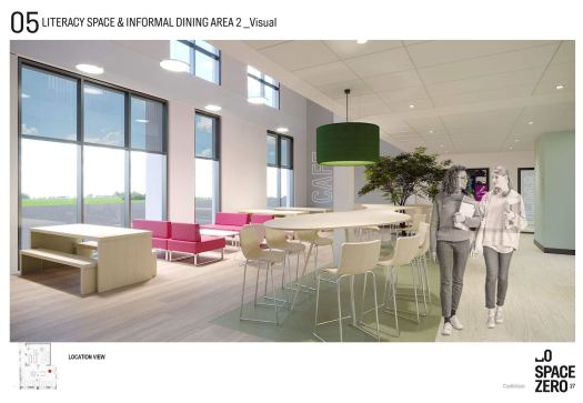 informal dining space with a bench, comfortable chairs and table with high stools