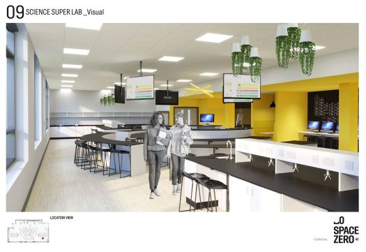 a concept for the science lab showing benches, screens hanging from the ceiling